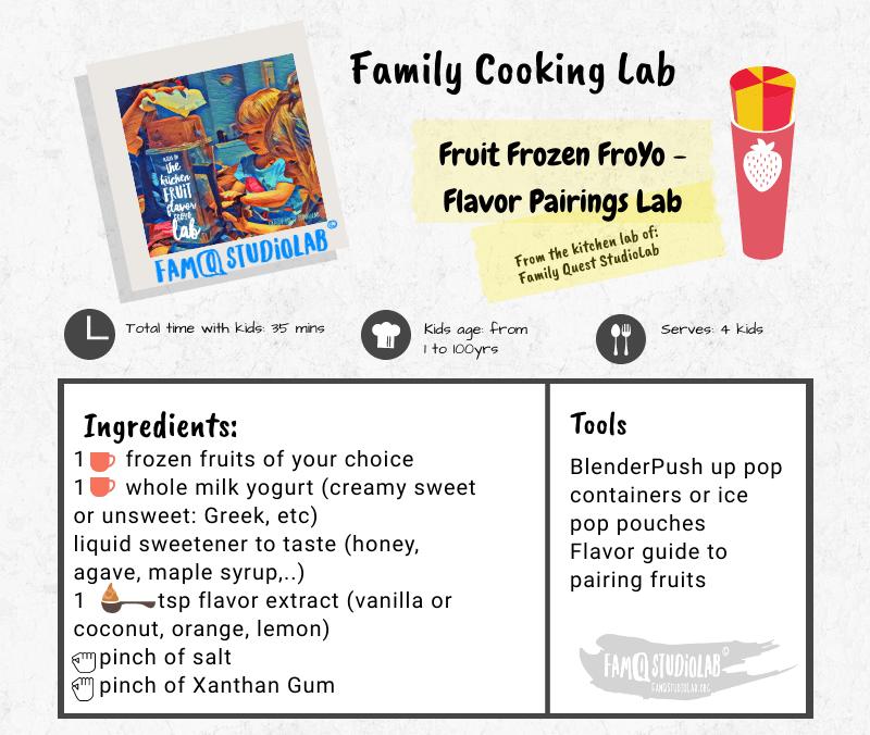 Ingredients and tools to make fruit frozen yogurt