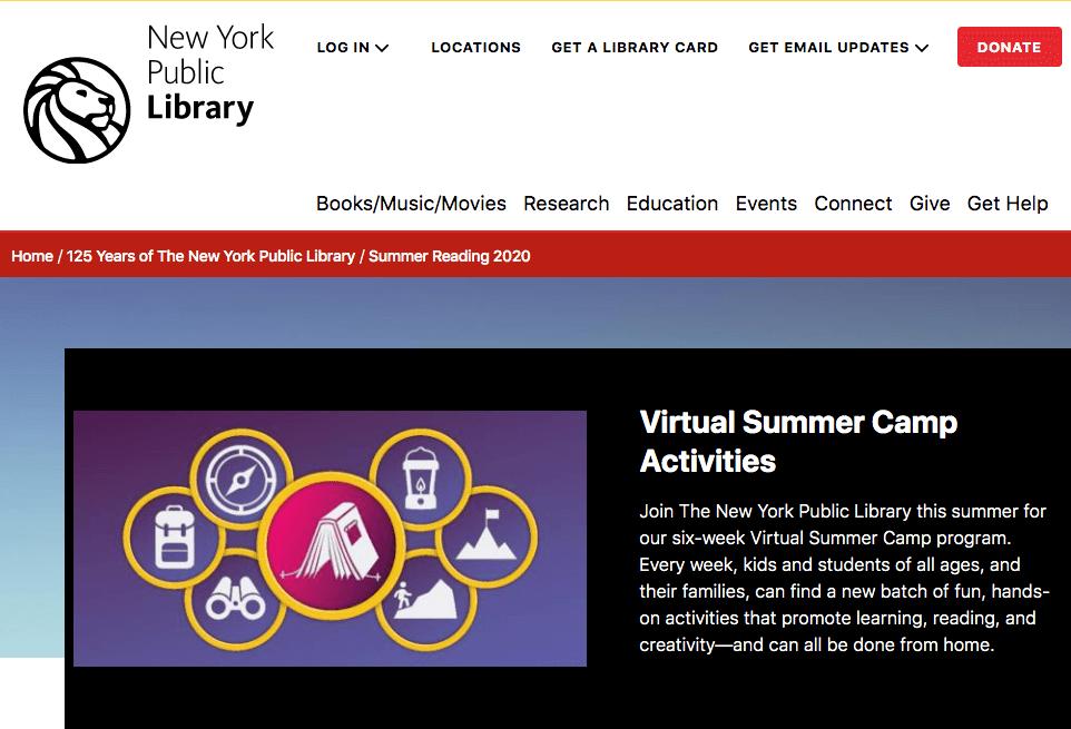 NEW YORK PUBLIC LIBRARY VIRTUAL CAMP