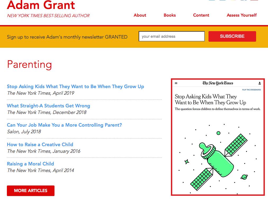 Adam Grant Parenting Articles
